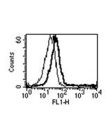 Detection of endogenous human BAFF using anti-BAFF (h) mAb (1-35-1)(AG-20B-0037). Method: Neutrophils (CD15+) were stained with BAFF (h), mAb (1-35-1) (thick line) or an isotype control (thin line) at 10μg /ml each, revealed  with a second